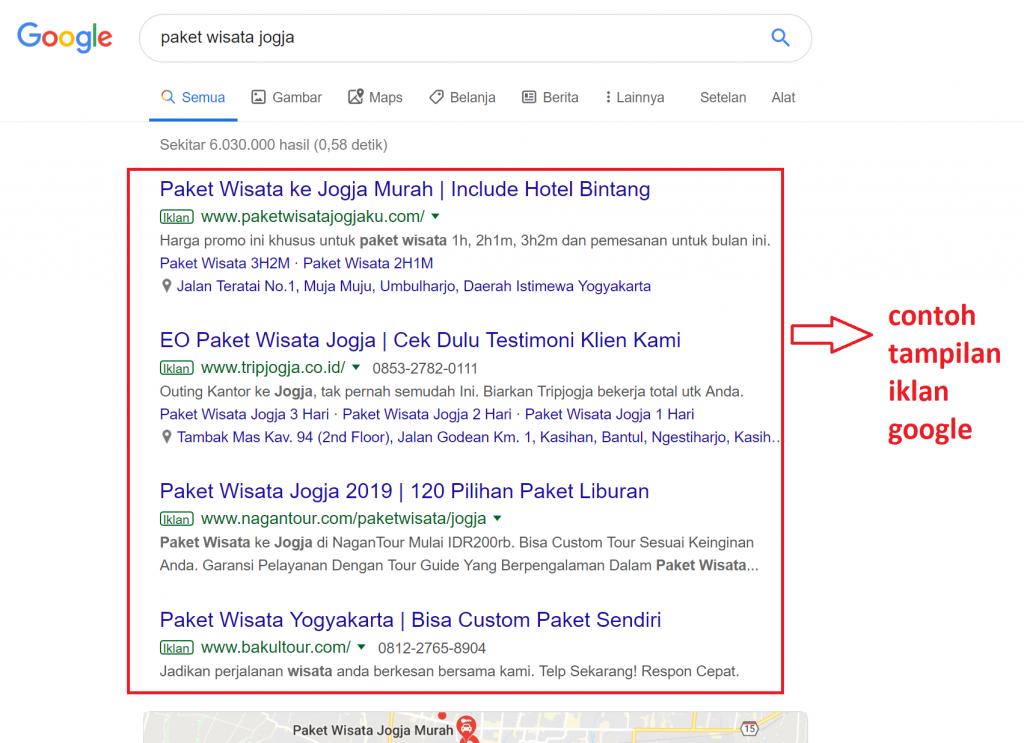 Contoh tampilan google ads